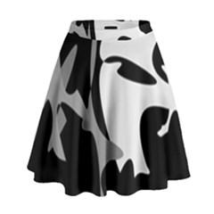 Black And White Amoeba Abstraction High Waist Skirt