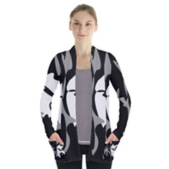 Black and white amoeba abstraction Women s Open Front Pockets Cardigan(P194)