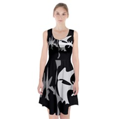 Black And White Amoeba Abstraction Racerback Midi Dress