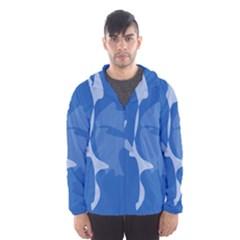 Blue amoeba abstraction Hooded Wind Breaker (Men)