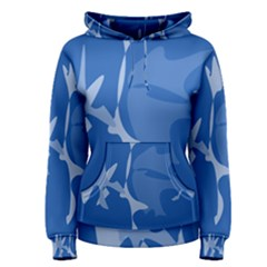 Blue amoeba abstraction Women s Pullover Hoodie