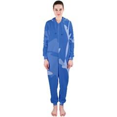 Blue amoeba abstraction Hooded Jumpsuit (Ladies)