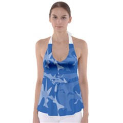 Blue Amoeba Abstraction Babydoll Tankini Top