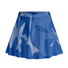Blue amoeba abstraction Mini Flare Skirt