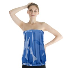 Blue Amoeba Abstraction Strapless Top