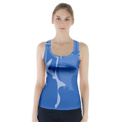 Blue Amoeba Abstraction Racer Back Sports Top