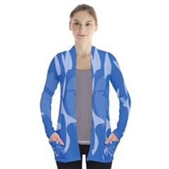 Blue amoeba abstraction Women s Open Front Pockets Cardigan(P194)