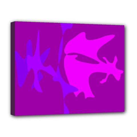 Purple, pink and magenta amoeba abstraction Canvas 14  x 11
