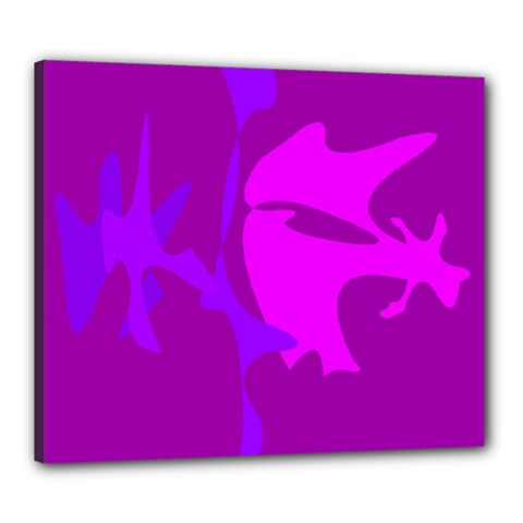 Purple, pink and magenta amoeba abstraction Canvas 24  x 20