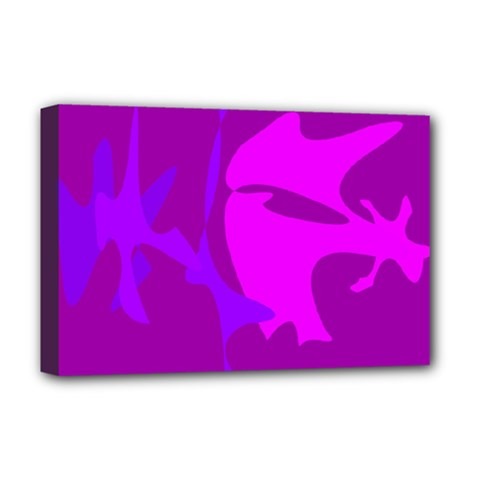 Purple, pink and magenta amoeba abstraction Deluxe Canvas 18  x 12