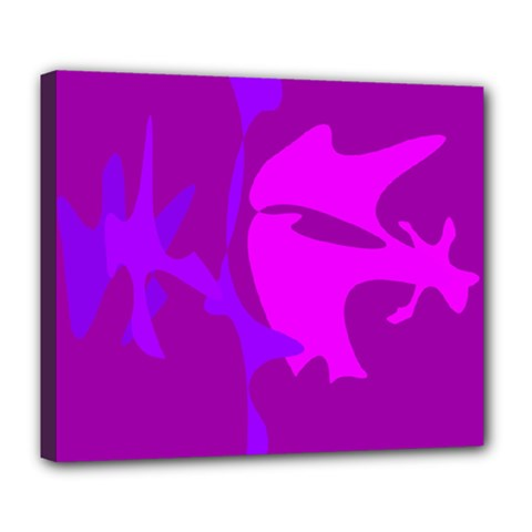 Purple, pink and magenta amoeba abstraction Deluxe Canvas 24  x 20