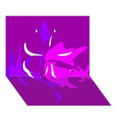 Purple, pink and magenta amoeba abstraction Clover 3D Greeting Card (7x5)