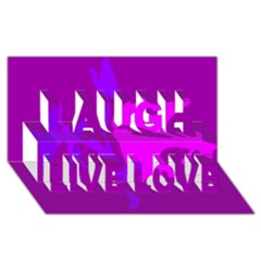 Purple, pink and magenta amoeba abstraction Laugh Live Love 3D Greeting Card (8x4)