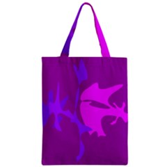 Purple, pink and magenta amoeba abstraction Zipper Classic Tote Bag