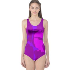 Purple, pink and magenta amoeba abstraction One Piece Swimsuit