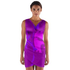Purple, pink and magenta amoeba abstraction Wrap Front Bodycon Dress
