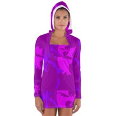 Purple, pink and magenta amoeba abstraction Women s Long Sleeve Hooded T-shirt