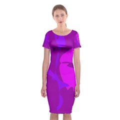 Purple, Pink And Magenta Amoeba Abstraction Classic Short Sleeve Midi Dress