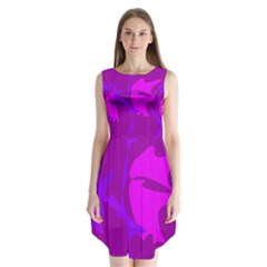 Purple, pink and magenta amoeba abstraction Sleeveless Chiffon Dress