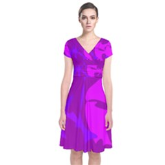 Purple, pink and magenta amoeba abstraction Short Sleeve Front Wrap Dress