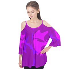 Purple, pink and magenta amoeba abstraction Flutter Tees