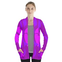 Purple, Pink And Magenta Amoeba Abstraction Women s Open Front Pockets Cardigan(p194)