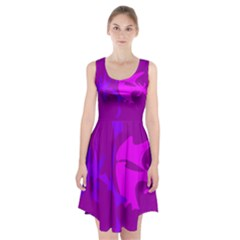 Purple, pink and magenta amoeba abstraction Racerback Midi Dress