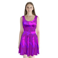 Purple, pink and magenta amoeba abstraction Split Back Mini Dress