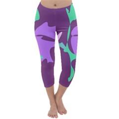Purple Amoeba Abstraction Capri Winter Leggings