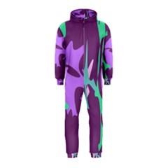 Purple amoeba abstraction Hooded Jumpsuit (Kids)