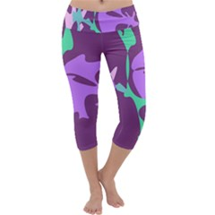 Purple Amoeba Abstraction Capri Yoga Leggings