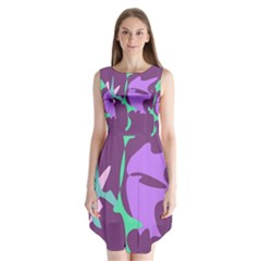 Purple Amoeba Abstraction Sleeveless Chiffon Dress