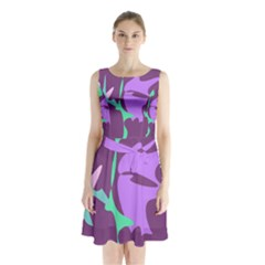 Purple amoeba abstraction Sleeveless Waist Tie Dress