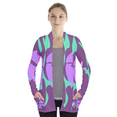 Purple amoeba abstraction Women s Open Front Pockets Cardigan(P194)