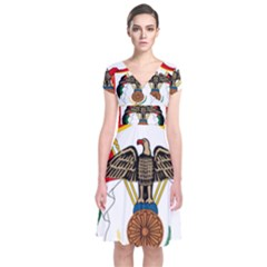 Coat of Arms of Jordan Short Sleeve Front Wrap Dress
