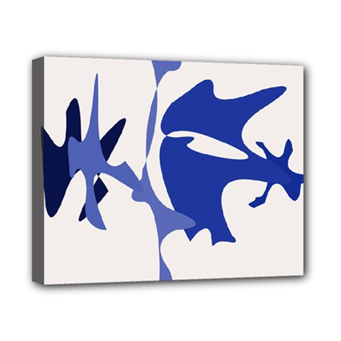 Blue amoeba abstract Canvas 10  x 8