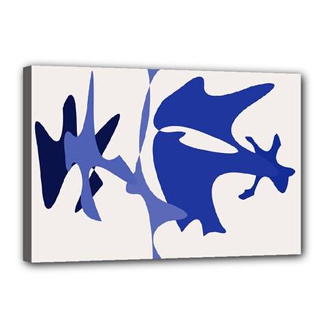 Blue amoeba abstract Canvas 18  x 12