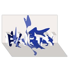 Blue amoeba abstract PARTY 3D Greeting Card (8x4)
