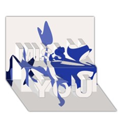 Blue amoeba abstract Miss You 3D Greeting Card (7x5)