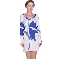 Blue amoeba abstract Long Sleeve Nightdress