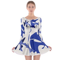 Blue amoeba abstract Long Sleeve Skater Dress