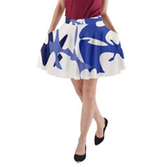 Blue amoeba abstract A-Line Pocket Skirt