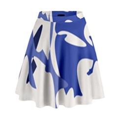 Blue amoeba abstract High Waist Skirt