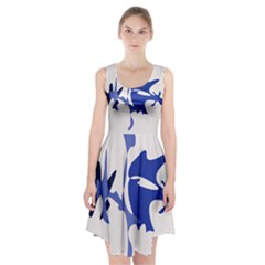 Blue amoeba abstract Racerback Midi Dress