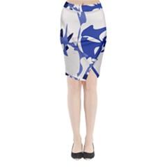 Blue Amoeba Abstract Midi Wrap Pencil Skirt