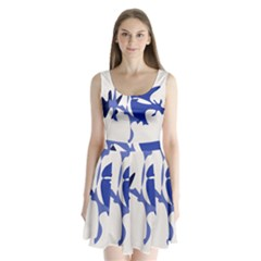 Blue amoeba abstract Split Back Mini Dress