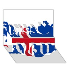 Iceland Flag Map Miss You 3D Greeting Card (7x5)