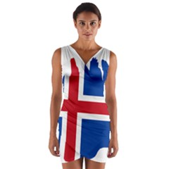 Iceland Flag Map Wrap Front Bodycon Dress