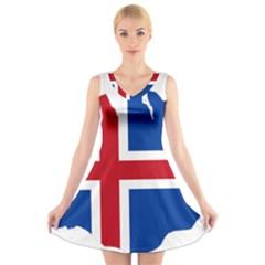 Iceland Flag Map V-Neck Sleeveless Skater Dress