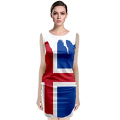 Iceland Flag Map Classic Sleeveless Midi Dress